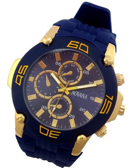 Relógio Masculino Novana De Pulso Pulseira Em Borracha B5696