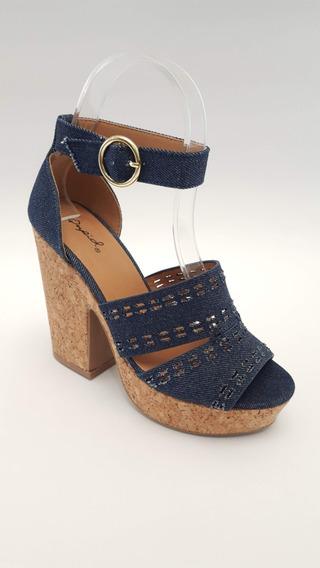 Sandalia Blue Jean Plataforma De Corcho Importada Para Damas