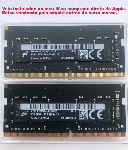 16 Gb De Memória Ddr3 A 2666 Mhz - 2 So-dimms De 8 Gb  iMac
