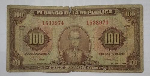 Imagen 1 de 2 de Billete 100 Pesos Año 1951