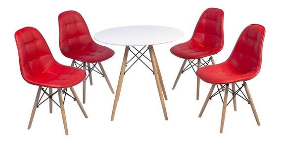 Conjunto Mesa Eiffel Branca 90cm + 4 Cadeiras Estof. Botonê