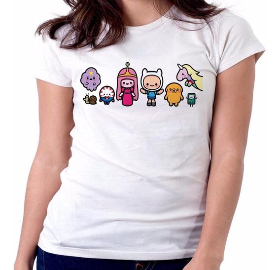 Blusa Feminina Baby Look Hora Aventura Finn Tamanho Camiseta