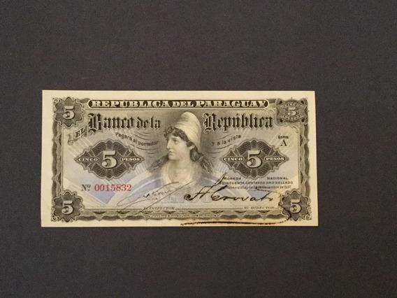 Paraguaí 1907 Cédula De 5 Pesos Ouro Original Fe