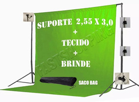 Tecido 3x2 Verde + Suporte Fundo Infinito Estúdio Chroma Xy