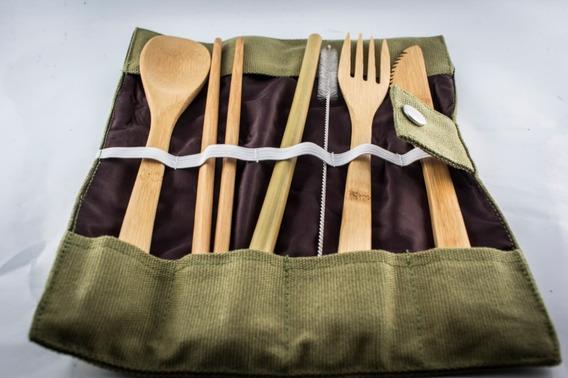 Kit Cubiertos De Bambú Ecológico Popote Biodegradable Envío Gratis