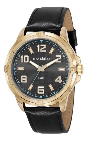 Relógio Mondaine Masculino 83450gpmvdh2 Couro Mostr Preto