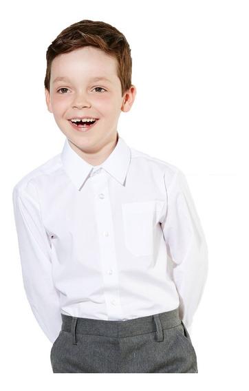 Camisa Colegial Escuela Niño Blanca Celeste Talle 6 Al 16