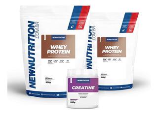Kit 2 Whey Protein 900g + 1 Creatina 200g - Newnutrition