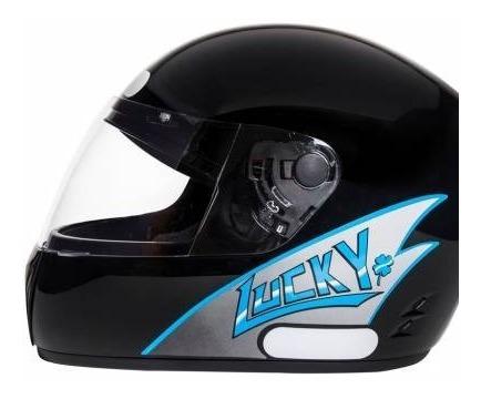 Capacete De Moto Lucky Preto/blue
