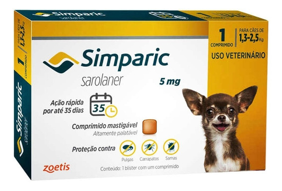 Antipulgas Simparic 5mg P/ Cães 1,3 A 2,5kg - 1 Comprimidos