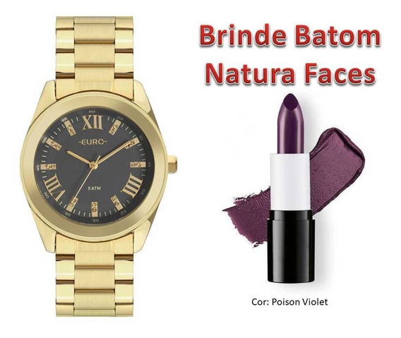 Relógio Euro Fem. Eu2036ynd/4c + Brinde Batom Natura Faces