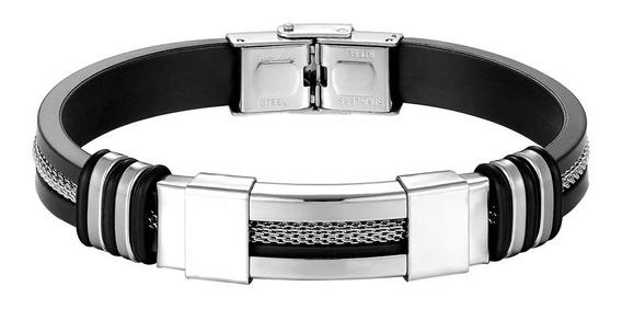 Bracelete Masculino Prata - Cabo De Aço Pulseira De Silicone