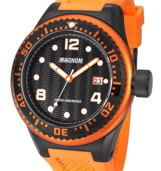 Relógio Magnum Masculino Oversized Silicone Ma34021c + Nota