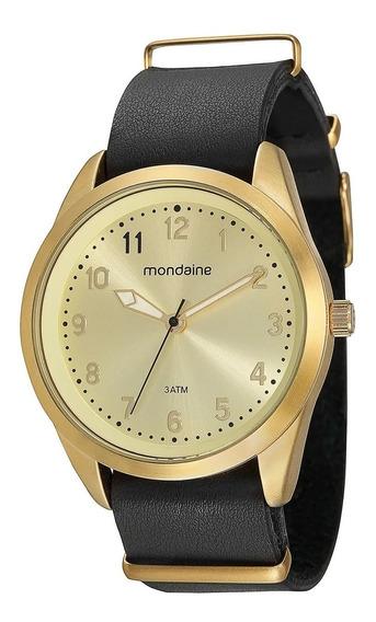 Relógio Mondaine 76512lpmvdh1 Dourado Couro Preto De Vltrine