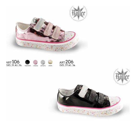 Zapatillas De Nena, Metalizadas Con Abrojo. Talle 27 Al 34