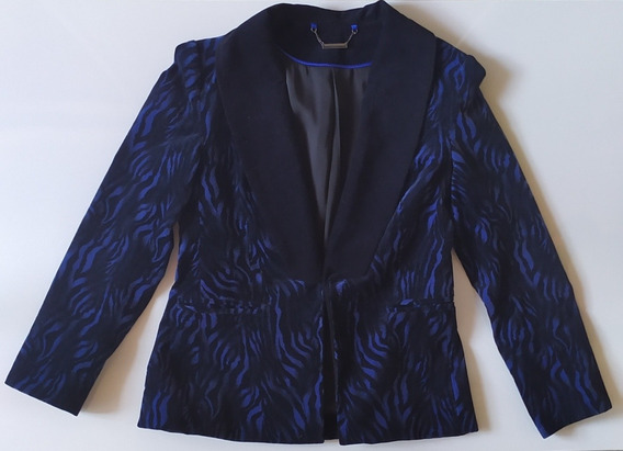 Blazer Saco Tucci Pana Estampado Azul Y Negro