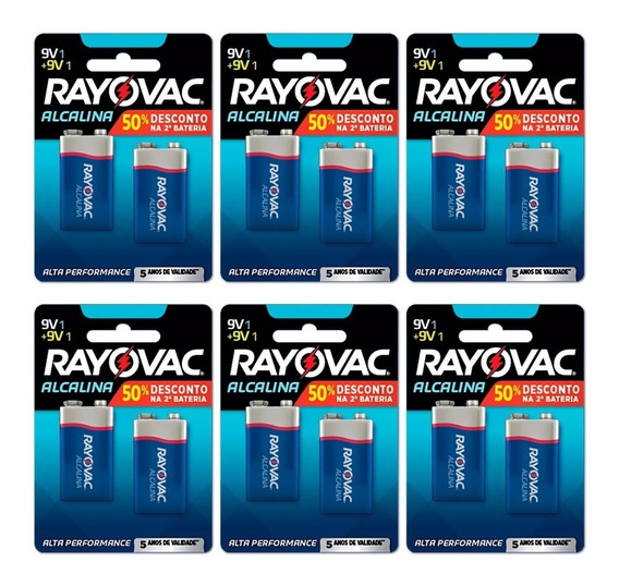 Bateria Rayovac 9v Alcalina C/06 Cartelas = 12 Unidades