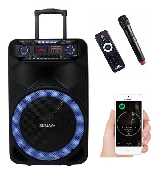 Caixa Som Portátil Bluetooth Bivolt Usb Microfone 1000w Rms