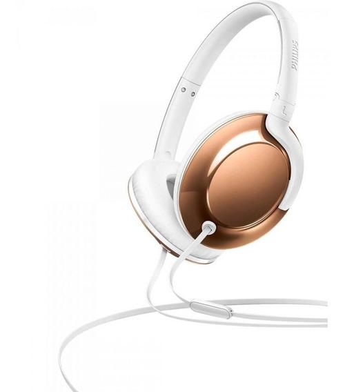 Fone Headband On Ear Microfone Shl4805rg/00 Dourado Philips