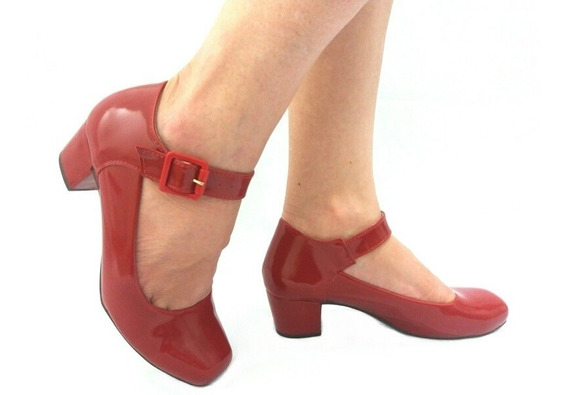 Sapato Feminino Boneca Salto Baixo Grosso
