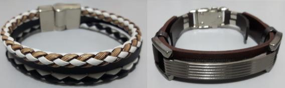 Oferta Pulseira Couro Ecológico Masculina Bracelete Luxo