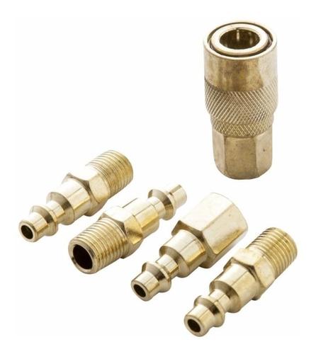 Acoples Conectores Compresor 5 Piezas Bronce 1/4 Npt 6.3mm