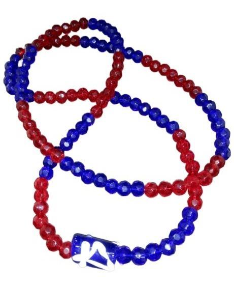 Guia De Ogum Azul E Vermelha Com 126 Contas De Cristal