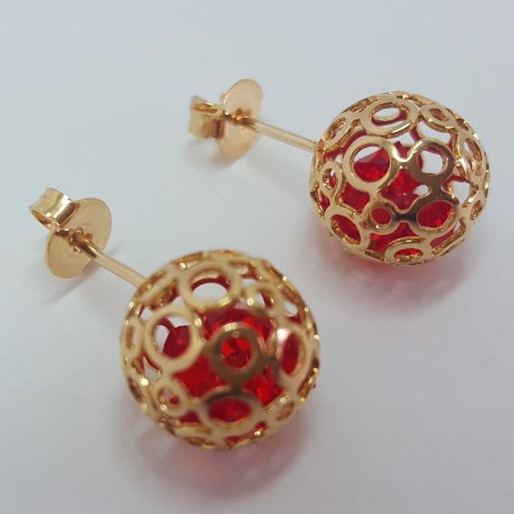 Brinco Feminino Dourado Fixo Bolinha Vazada Pedra Vermelha
