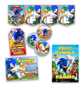 Kit Sonic Boom Invitaciones, Stickers, Banderín Impreso