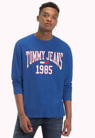 Tjm Collegiate Longsleeve Tee - Tommy Jeans - 1185122 - Azul