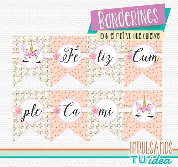Banderín Cumple Unicornio Para Imprimir