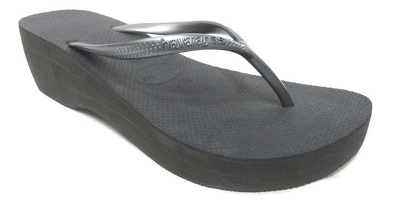 Tamanco Havaianas High Metallic Flip Flops Black
