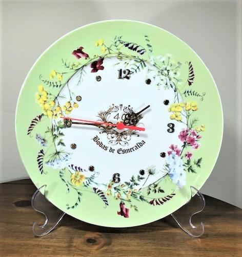 Imagem 1 de 4 de Relógio Bodas De Esmeralda, 40 Anos De Casamento 28cm