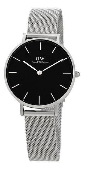 Reloj Daniel Wellington Petite Sterling Plateado Negro 28mm