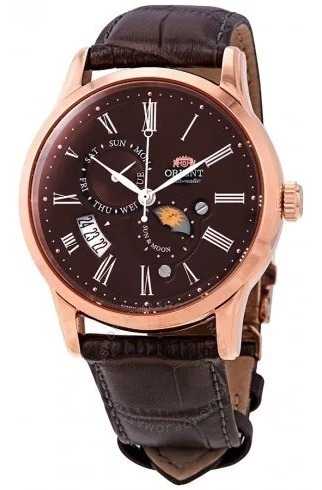 Reloj Orient Sol Y Luna Aut Versión 3 Safiro Marron Original