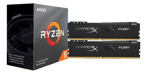 Imagem 1 de 4 de Processador Amd Ryzen 5 3600 Box + 2x8gb  Hyperx 2666mhz