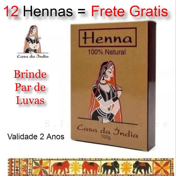 12 Tinta Henna Indiana Pura Cabelo Ruivo + Brinde Promoção