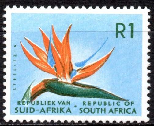 Sudáfrica 1964/71. R1 Con Flor Strelitzia, Filigrana Rsa