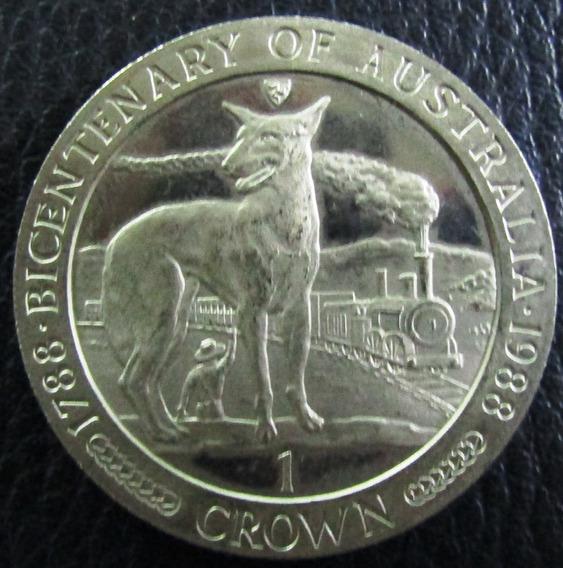 Isla De Man Moneda 1 Crown 1988 Niquel 200 Aniversario Tren Australia