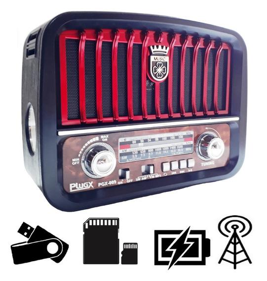 Radio Retro Vintage Am Fm Sw Usb Bateria Recarregavel 110v20