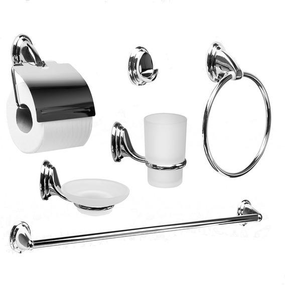 Set Accesorios Baño Tawak Piezas Metalico Original Moderno