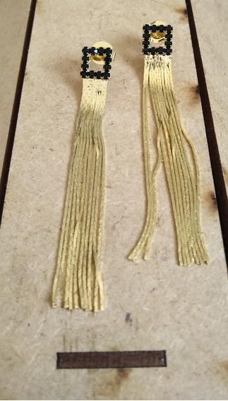 Brinco Semi Jóia Franjas Quadrado Luxo 10 Milésimo De Ouro