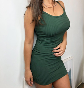 Vestido Feminino Canelado Justo Tubinho Básico Com Bojo