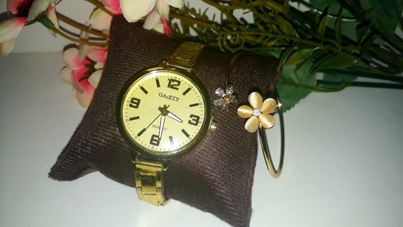 Relógio Feminino Dourado + Pulseira Bracelete Lindo Barato