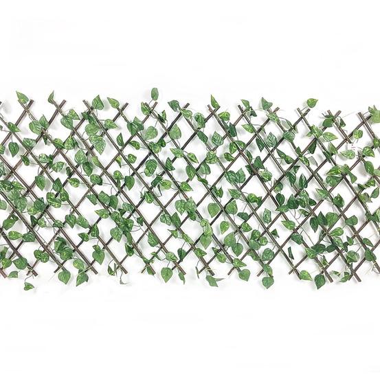 Jardim Vertical Gradil Treliça Madeira Com Hera Artificial