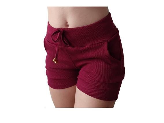 Short Feminino Casual C/ Bolso Tecido Ribana Canelado