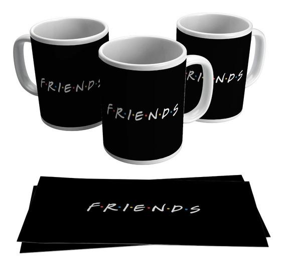 Caneca Friends Série Logo Seriado Tv Netflix Porcelana Preta