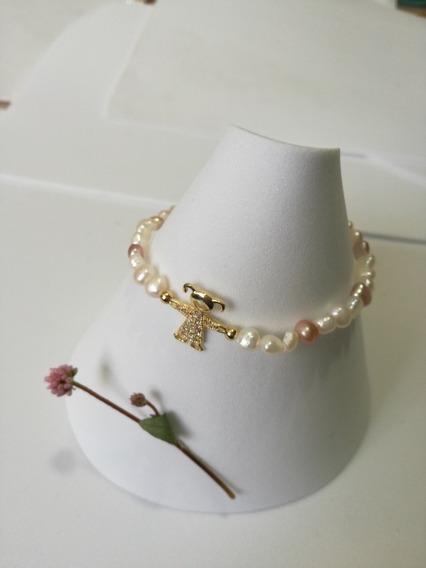 Pulsera Perlas Naturales 5 Mm, Para Dama