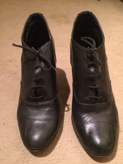 Zapatos Acordonados De Cuero Negro Talle 36