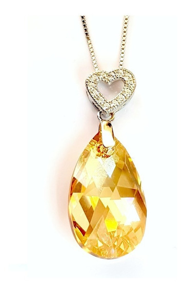 Swarovski Crystal Dije Oro Corazón Ak Jewelry Plata 925
